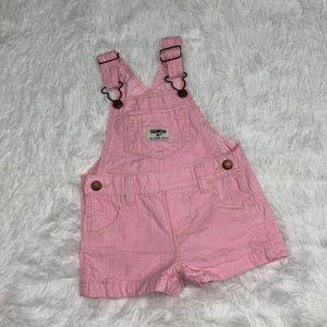OshKosh B'Gosh 12 Months Pink Seersucker Overalls